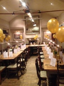 Image of party decoration wit golden balloons